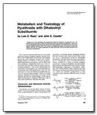 Metabolism and Toxicology of Pyrethroids... by Ruzo, Luis O.