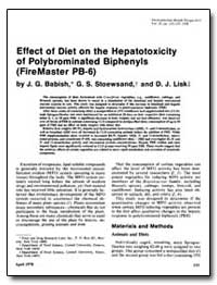 Effect of Diet on the Hepatotoxicity-Of ... by Babish, J. G.