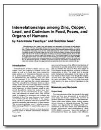 Interrelationships Among Zinc, Copper, L... by Tsuchiya, Kenzaburo