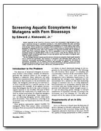 Screening Aquatic Ecosystems for Mutagen... by Klekowski, Edward J.