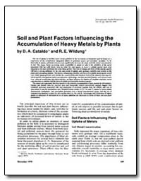 Soil and Plant Factors Lnfluencing the A... by Cataldo, D. A.