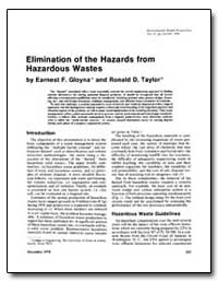 Elimination of the Hazards from Hazardou... by Gloyna, Earnest F.