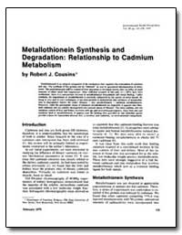 Metallothionein Synthesis and Degradatio... by Cousins, Robert J.