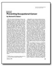 Preventing Occupational Cancer by Bates, Richard R.
