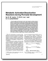 Metabolic Activationldeactivation Reacti... by Lucier, George W.