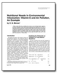 Nutritional Needs in Environmental Intox... by Menzel, D. B.