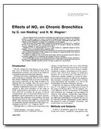 Effects of No, On Chronic Bronchitics by Von Nieding, Giselher