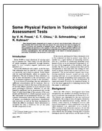 Some Physical Factors in Toxicological A... by Freed, V. H.