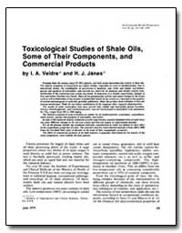 Toxicological Studies of Shale Oils, Som... by Veldre, I. A.