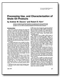 Processing Use, And Characterization of ... by Decora, Andrew W.