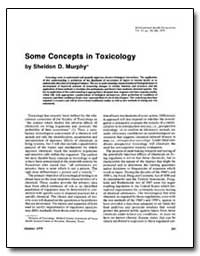 Some Concepts in Toxicology by Murphy, Sheldon D.