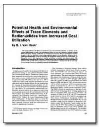 Potential Health and Environmental Effec... by Hook, R. I. Van