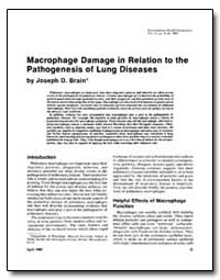 Macrophage Damage in Relation to the Pat... by Brain, Joseph D.