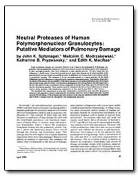 Neutral Proteases of Human Polymorphonuc... by Spitmagel, John K.