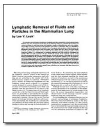 Lymphatic Removal of Fluids and Particle... by Leak, Lee V.
