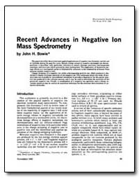 Recent Advances in Negative Ion Mass Spe... by Bowie, John H.