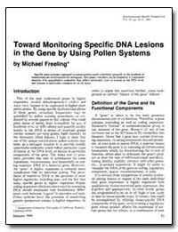 Toward Monitoring Specific Dna Lesions i... by Freeling, Michael