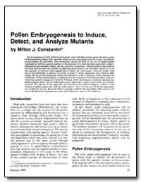 Pollen Embryogenesis to Induce, Detect, ... by Constantin, Milton J.