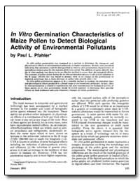 In Vitro Germination Characteristics of ... by Pfahler, Paul L.
