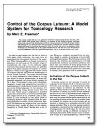 Control of the Corpus Luteurn : A Model ... by Freeman, Marc E.