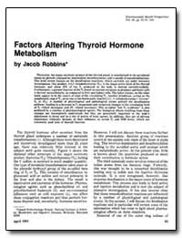 Factors Altering Thyroid Hormone Metabol... by Robbins, Jacob