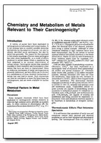 Chemistry and Metabolism of Metals Relev... by United Nations