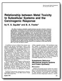Relationship between Metal Toxicity to S... by Squibb, K. S.