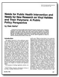 Needs for Public Health Intervention and... by Hattis, Dale