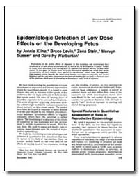 Epidemiologic Detection of Low Dose Effe... by Kline, Jennie