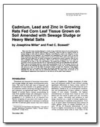 Cadmium, Lead and Zinc in Growing Rats F... by Miller, Josephine