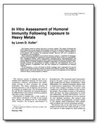In Vitro Assessment of Humoral Immunity ... by Koller, Loren D.