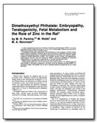 Dimethoxyethyl Phthalate : Embryopathy, ... by Parkhie, M. R.