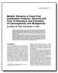 Metallic Elements in Fossil Fuel Combust... by Vouk, Velimir B.