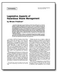 Legislative Aspects of Hazardous Waste M... by Friedman, Miriam