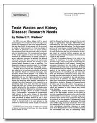 Toxic Wastes and Kidney Disease : Resear... by Wedeen, Richard P.
