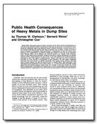 Public Health Consequences of Heavy Meta... by Clarkson, Thomas W.