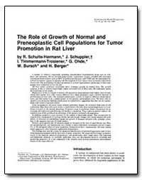 The Role of Growth of Normal and Preneop... by Schulte-Hermann, R.