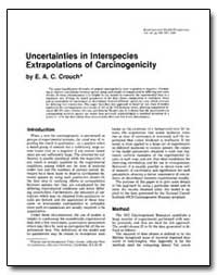 Uncertainties in Interspecies Extrapolat... by Crouch, E. A. C.