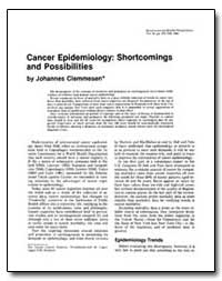 Cancer Epidemiology : Shortcomings and P... by Clemmesen, Johannes