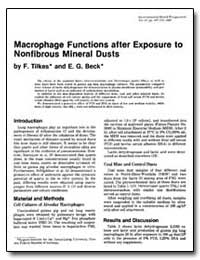 Macrophage Functions after Exposure to N... by Beck, E. G.
