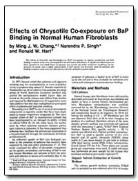 Effects of Chrysotile Co-Exposure on Bap... by Chang, Ming J. W.