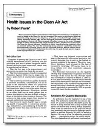 Health Issues in the Clean Air Act by Frank, Robert
