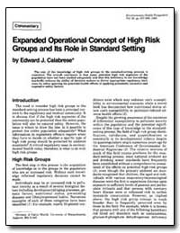 Expanded Operational Concept of High Ris... by Calabrese, Edward J.