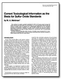 Current Toxicological Information as the... by Mehlman, M. A.