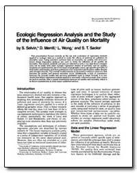 Ecologic Regression Analysis and the Stu... by Selvin, S.