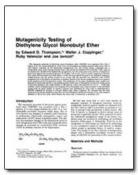 Mutagenicity Testing of Diethylene Glyco... by Thompson, Edward D.