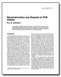 Decontamination and Disposal of Pcb Wast... by Johnston, L. E.