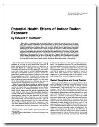 Potential Health Effects of Indoor Radon... by Radford, Edward P.