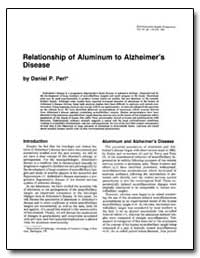 Relationship of Aluminum to Alzheimer's ... by Perl, Daniel P.