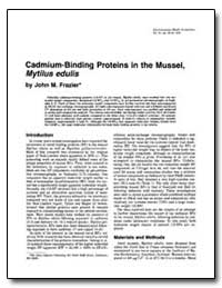 Cadmium-Binding Proteins in the Mussel, ... by Frazier, John M.